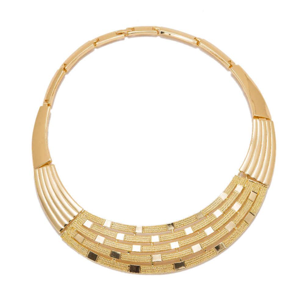 MUKUN Дубайская золото Цвет Ювелирные наборы для Для женщин африканские бусы Цепочки и ожерелья серьги браслет кольца вечерние свадебные аксессуары