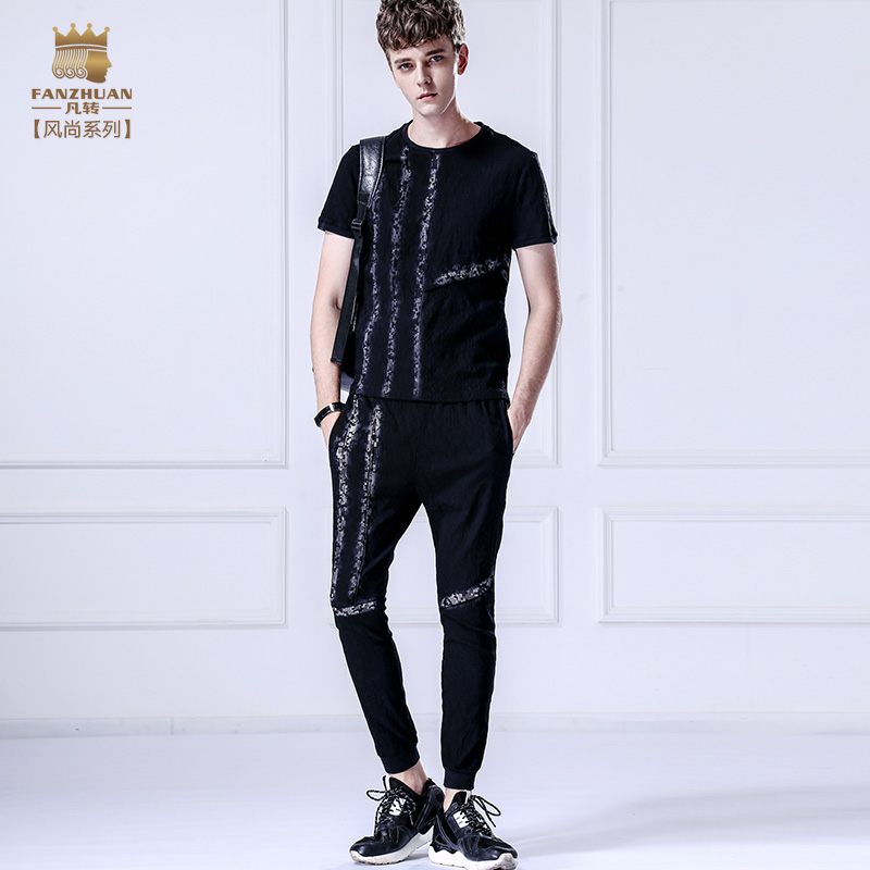Fanzhuan livraison gratuite nouvelle décontracté 2017 hommes d'été à manches courtes t-shirt neuvième pantalon ensemble costume 7110571 noir slim