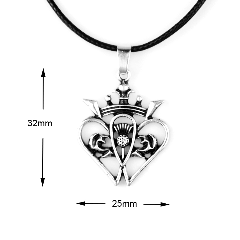 Charm Scottish Pendant Thistle Heart Crown Necklace
