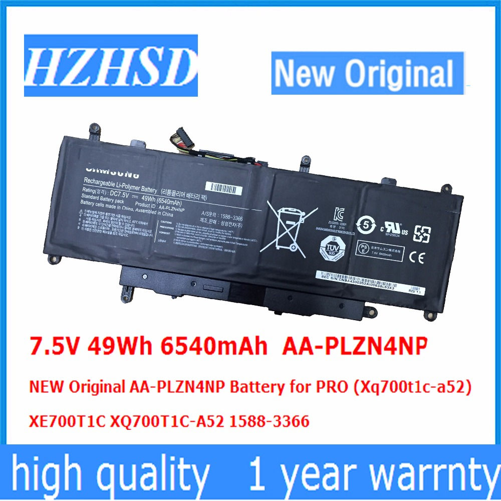 7.5V 49Wh 6540mAh  AA-PLZN4NP NEW Original AA-PLZN4NP Battery For Samsung PRO (Xq700t1c-a52)  XE700T1C XQ700T1C-A52 1588-3366