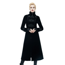 Steampunk Stand-collar Jacquard Women Coats Victorian Slim-fitting Long Jacket Long Sleeve Stage Costumes