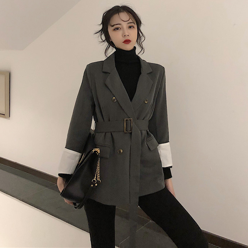Vintage Double-breasted Lace-up Patchwork Sleeve Women Blazer Jacket Notched Collar Sashes Pockets Female Blazers Outwear 2019