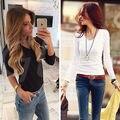 Блузка Женская Мода Леди Свободные Длинным Рукавом Шифон Повседневный Блузка Рубашки Топы V-образным Вырезом Черный Белый Женская Одежда