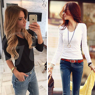 Blouse Fashion Women Lady Loose Long Sleeve Chiffon Casual Blouse Shirts Tops V-neck Black White Fashion Lady Clothing