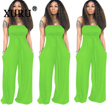 XURU summer new best women's jumpsuit fashion sexy tube top multi-wear jumpsuit solid color casual wide leg jumpsuit multi stripe wide leg jumpsuit