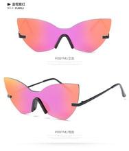 Lvvkee2017 moda cat eye sunglasses mujeres de los hombres de la marca marco grande irregular steampunk gafas gafas gafas de sol gafas feminino