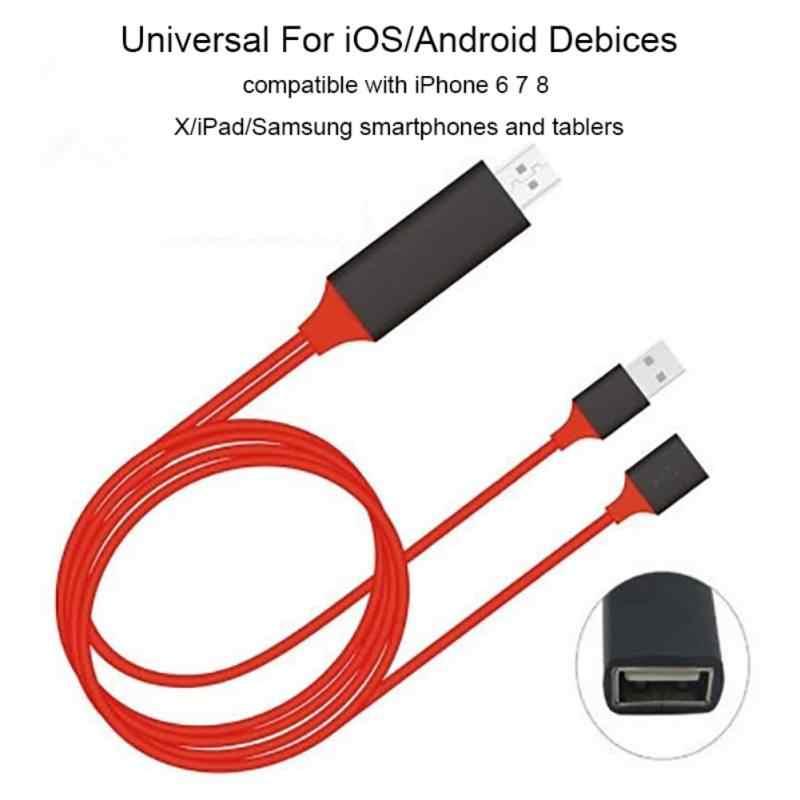 Для iPhone 8X7 6s Plus iPad tv Xiaomi Android телефоны к HDMI адаптер Full HD 1080 P USB HDMI конвертер Кабель hdmi-кабель, адаптер