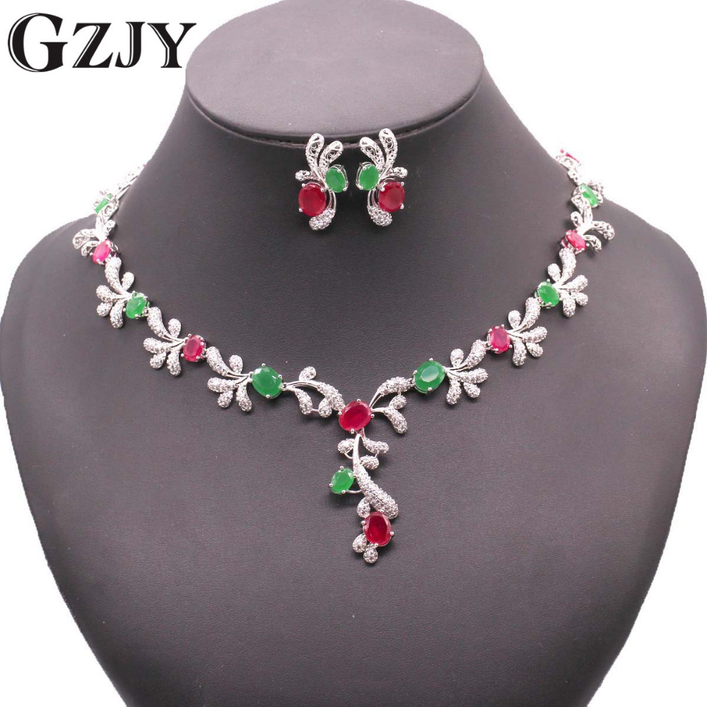 GZJY Fashion Gold Color Crystal AAA Zircon Necklace Earring Jewelry Set For Women Fashion Wedding Jewelry boucle d'oreille