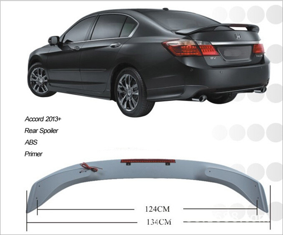 Use For Honda Accord Spoiler 2017 With Light High Quality Abs Material Car Rear Wing Primer Color
