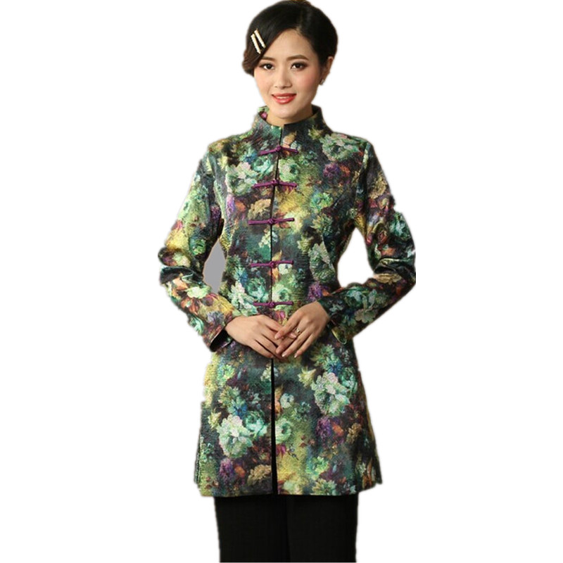 Dropshipping Multicolor Lady Satin Polyester Overcoat Mandarin Collar Button Jacket Flower Long Clothing Size S To XXXL