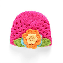 Cute Flower Baby Hats for Girls Handmade Crochet Newborn Photography Props Winter Knitted Baby Cap for 0-6 Months