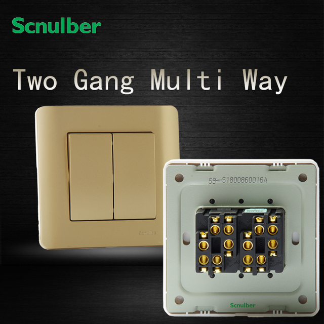 86 220v two 2 gang multi way control champagne home wall switch ...