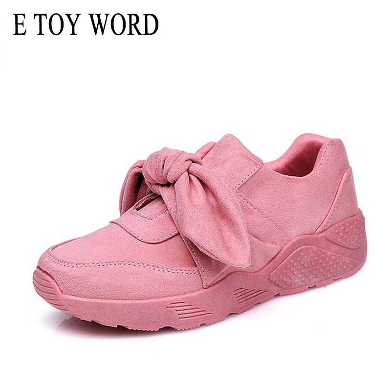 E TOY WORD Pink Sneakers Fashion Women Shoes 2018 Spring New Court Style Girl Series Silk Bow Casual Shoes Flat Size 41 42 1159 fashion ice silk lace sleepshirts for women deep pink black free size