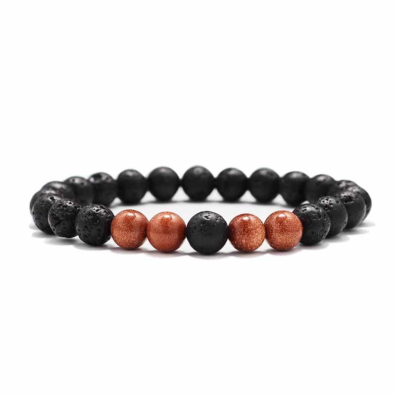 Мужские Браслеты Бусы из лавового Камня Натуральный Камень дерево жемчуг тигровый глаз бренд Модные четки 8 мм браслеты для йоги для женщин ювелирные подарки - Окраска металла: 16