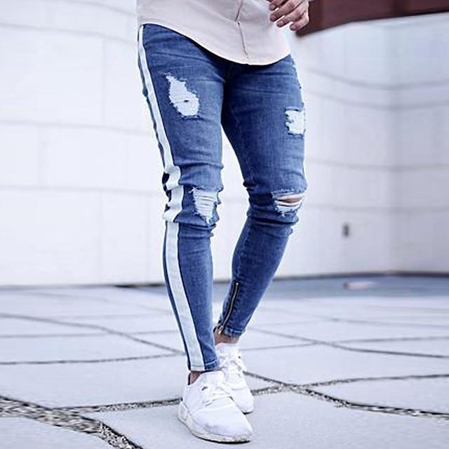 Skinny Jeans Men Hip Hop Stripe Elastic Slim Fit Denim Pants Male Stretchy Pencil Bottoms street Knee Ripped Holes Jeans 3