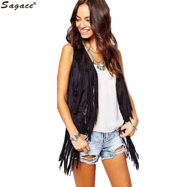Modern Ethnic Style Autumn Winter Faux Suede Vest Coat Womens Vintage Sleeveless Tassels Waistcoat Lady Cardigan Outerwear Sep29