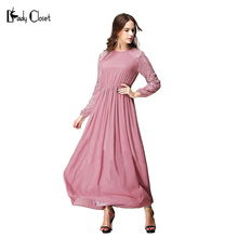 Turkish women clothing Muslim Jacquard sleeve Dress Dubai Abaya Jilbab Pink Dresses Islamic robe musulmane lady chiffon Clothes