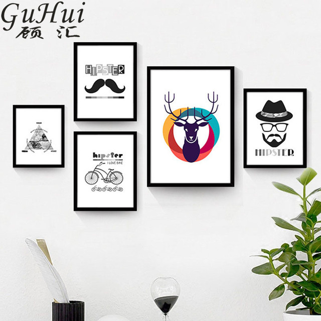 Nordic black white personalized combination picture geometric pyramid canvas decorative painting colorful deer hipster posters