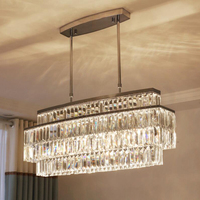 jmmxiuz Modern Crystal Chandelier For Dining Room Rectangle Chandeliers Lighting Kitchen Island Crystal Chandelier