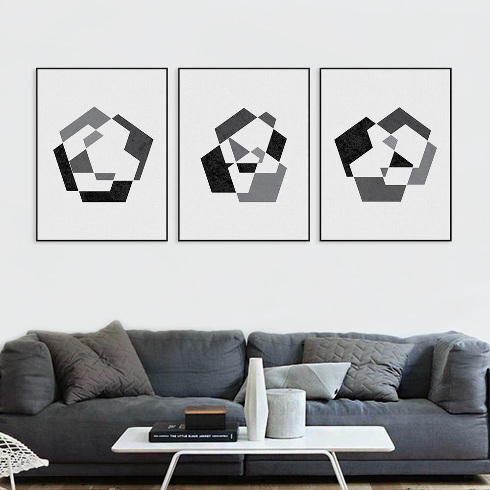 Nordique Moderne Noir Blanc Abatract Forme G Om Trique Toile A4 Art