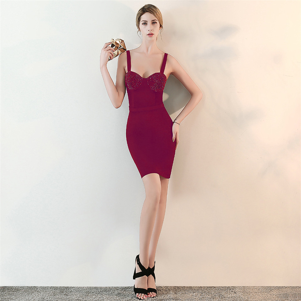 It's Yiiya evening dress Spaghetti Strap sleeveless knee-length Party gowns Crystal Backless Zipper back Prom dresses C154