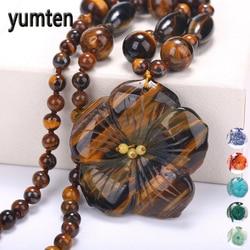 Yumten Women Statement Necklace Flowers Natural Stone Pendant Gemstone Men Accessories Fashion Short Necklace Crystal Jewelry