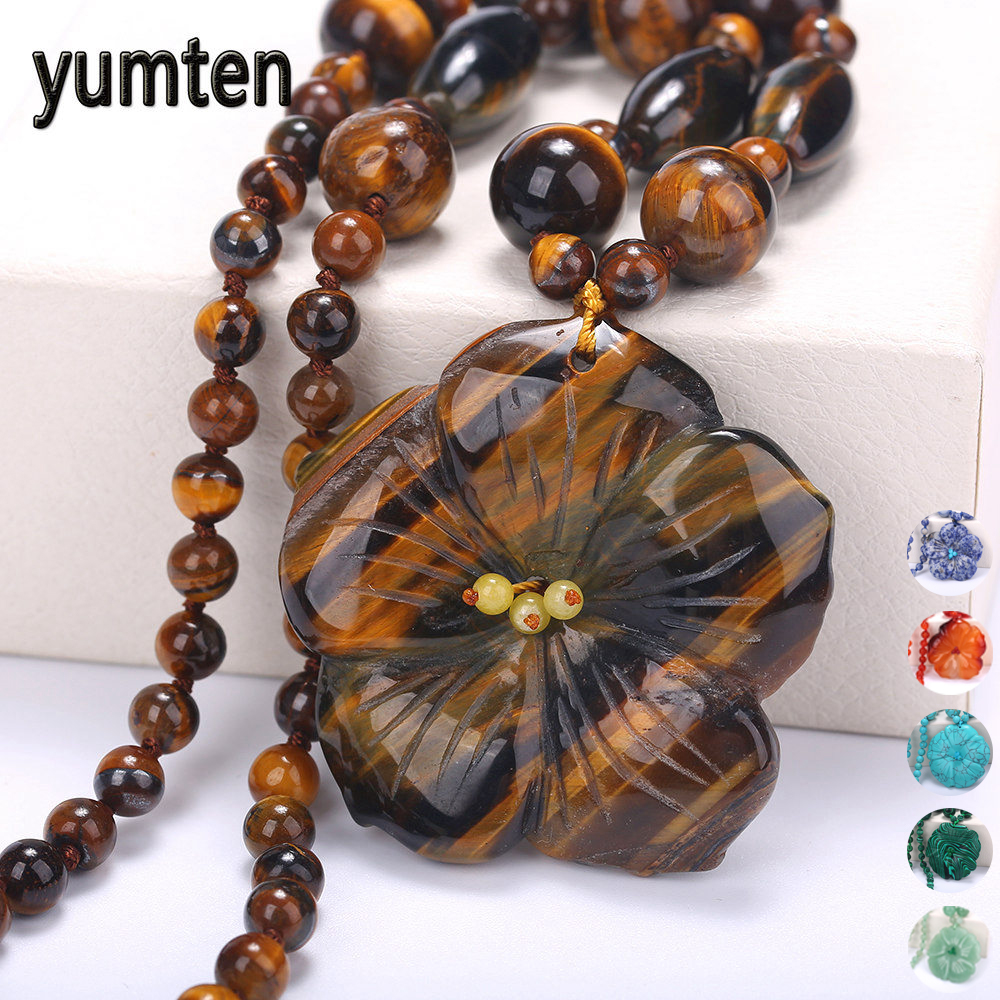 Yumten feminino colar de declaração flores pingente de pedra natural acessórios dos homens de pedra preciosa moda curto colar de jóias de cristal