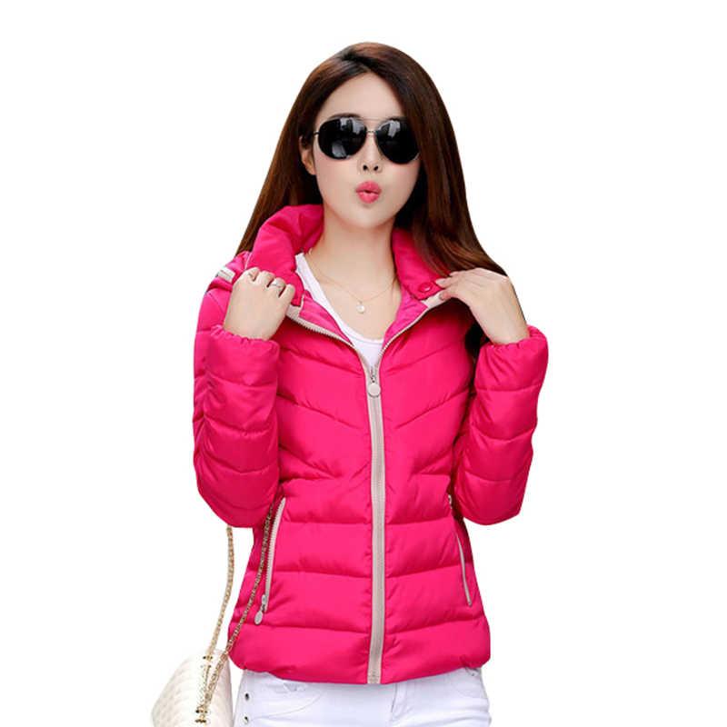 2019 nowa kurtka Parkas kobiety jesienno-zimowa krótkie płaszcze solidna z kapturem bawełny wyściełane ciepłe, z kieszeniami kurtka damska płaszcze damskie