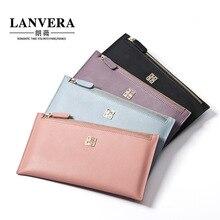 Japan and South Korea leather ladies long wallet ultra-thin wallet handbag Baotou layer