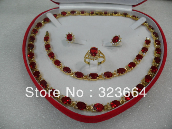 True Red Filled Earring Bracelet Necklace Ring Set And Sport