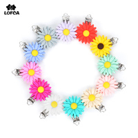10pcs/lot Siliocne Daisy Pacifier Clip Flower Silicone beads Teething Soother Holder Baby Feeding Accessories Tools Multi Colors