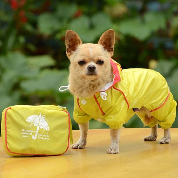 Dog Rain Coat Waterproof Hoodie Jacket Raincoat Slicker Jumpsuit Clothes