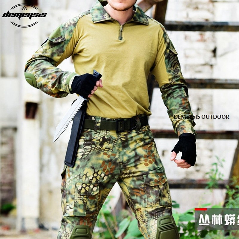 7d6a45c18c345 RM16585995466921251. Airsoft Tactical Uniform Combat Shirt Pants with Elbow  Knee Pads Military Hunting Clothes Multicam ACU Desert Camouflage