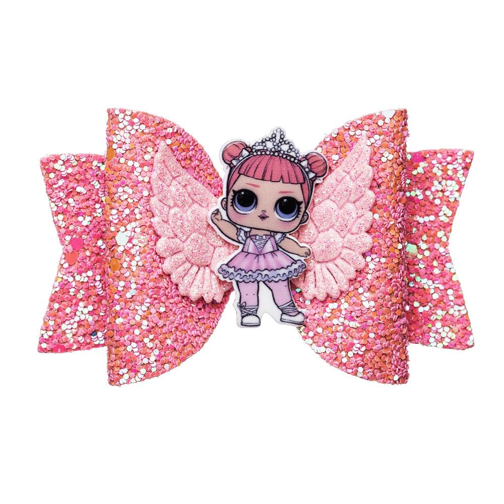 Kids LOL Unicorn Ballet Girl Angel Wing Glitter Sequins Bow Hair Clips Hair Grip