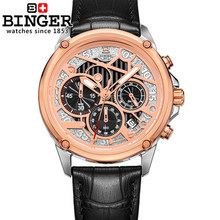 Binger Watches Men's Military Watch Genuine Leather Strap Men Sports Watches Quartz Luxury Brand Famous Wristwatch Male Relogio
