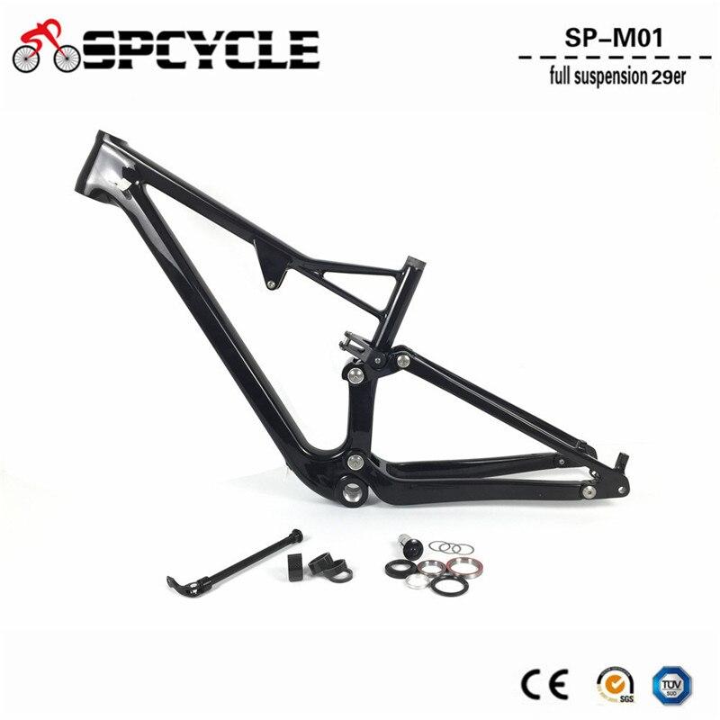 Spcycle T1000 Carbone Suspension Complète VTT Carbone Cadre 29er Carbone Vtt Cadres BSA Thru Essieu Arrière Choc 165 * 38mm