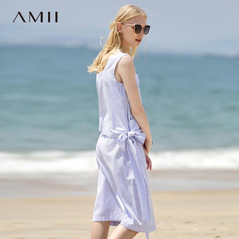 Amii Women Minimalist Dress 2018 Summer Stripe Sleeveless Square Collar Straps Female Dresses-in Dresses from Women's Clothing    2