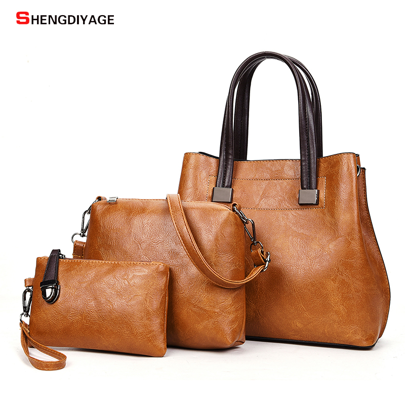 Vintage Women Handbags Brand Designer Bags 3pcs/Sets High Quality Female PU Leather Shoulder Bags Large Casual Tote Spring Bags reprcla brand designer handbags women composite bag large capacity shoulder bags casual ladies tote high quality pu leather