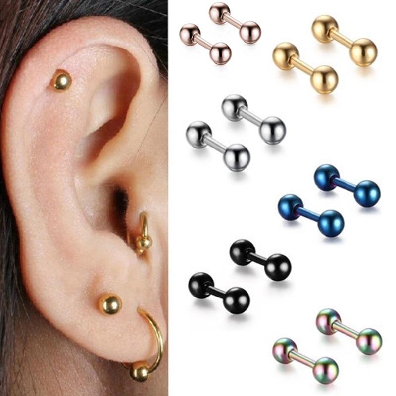 1 pares de tela pendientes oreja con rayas blancas azul negro de tela pendiente