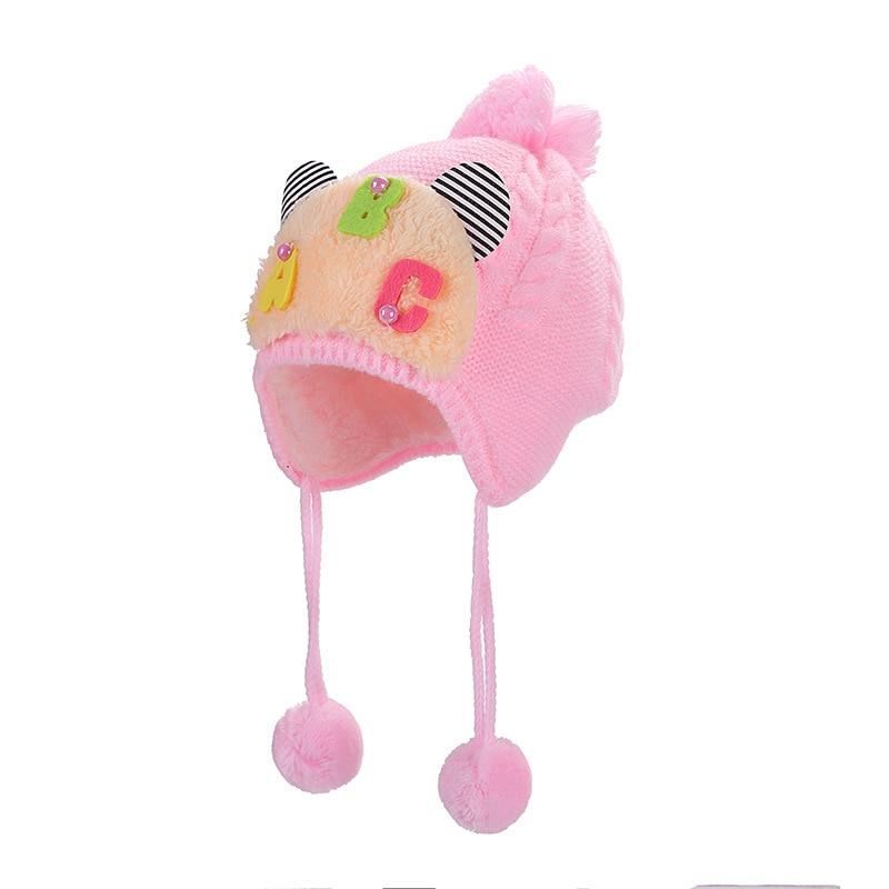 Children Winter Warm Knitted Hat Beanie Cute Letter Braids Hair Ball Hat Ear Cap -MX8