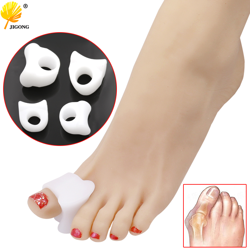 1pair Hole Feet Foot Care Gel Toe Straighteners Separator Hallux Valgus Bunion Corrector Pain Relief