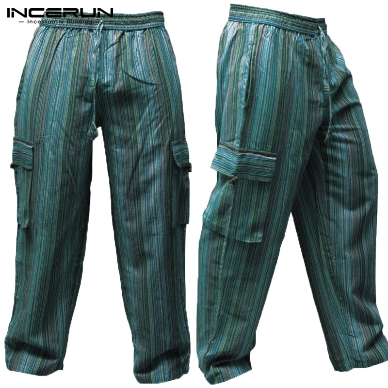 INCERUN Striped 5XL Wide Legs Men Casual Pants 100%Cotton Loose Fitness Baggy Cargo Trousers Multi Pockets Joggers  Vacation