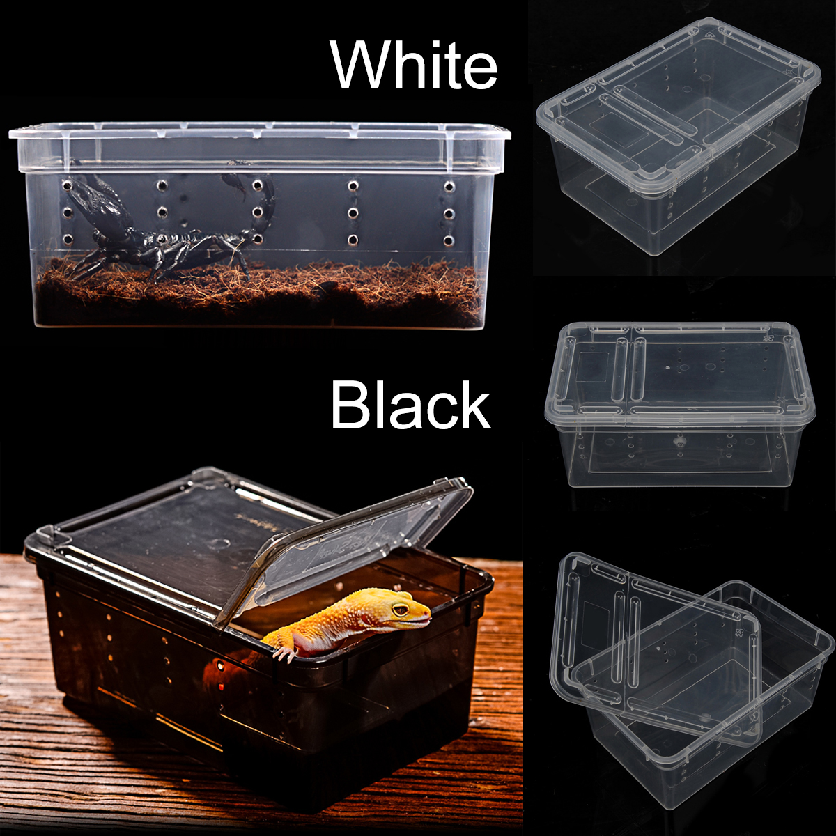 Plastic Pet Reptiles Breeding Box Case Lizards Spiders Snakes House Cage Enclosure Reptiles Terrarium Supplies Black/transparent