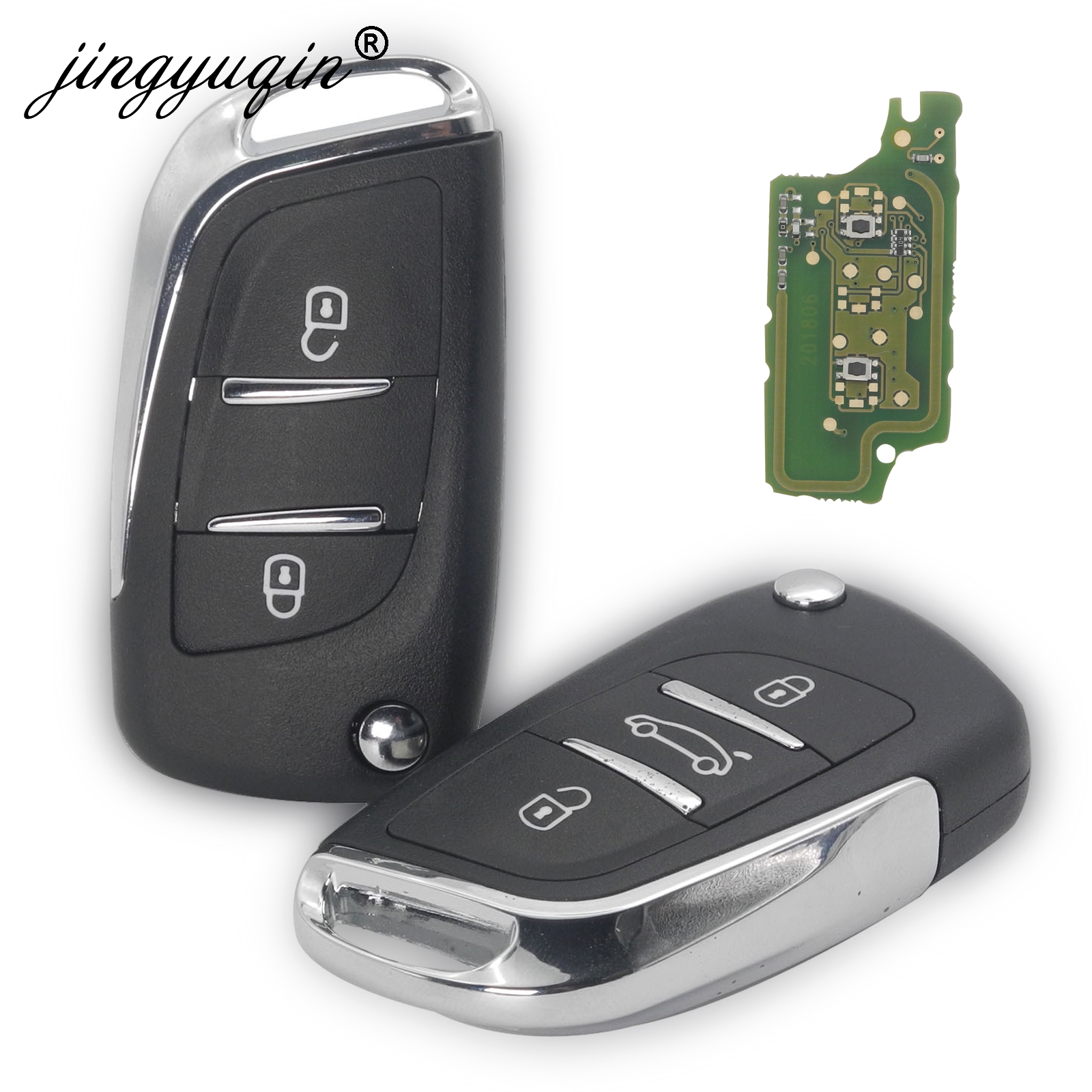 Jingyuqin 2/3 кнопочный модифицированный флип-ключ для Peugeot Partner 307 308 407 408 3008 ASK/FSK 433 МГц PCF7961 HU83/VA2 CE0536