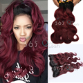 Ombre Malaysian Virgin Hair Weave 3 Bundles Body Wave With Ear to Ear 13x4 Lace Frontal Closure #1B/99J Natural Hairline