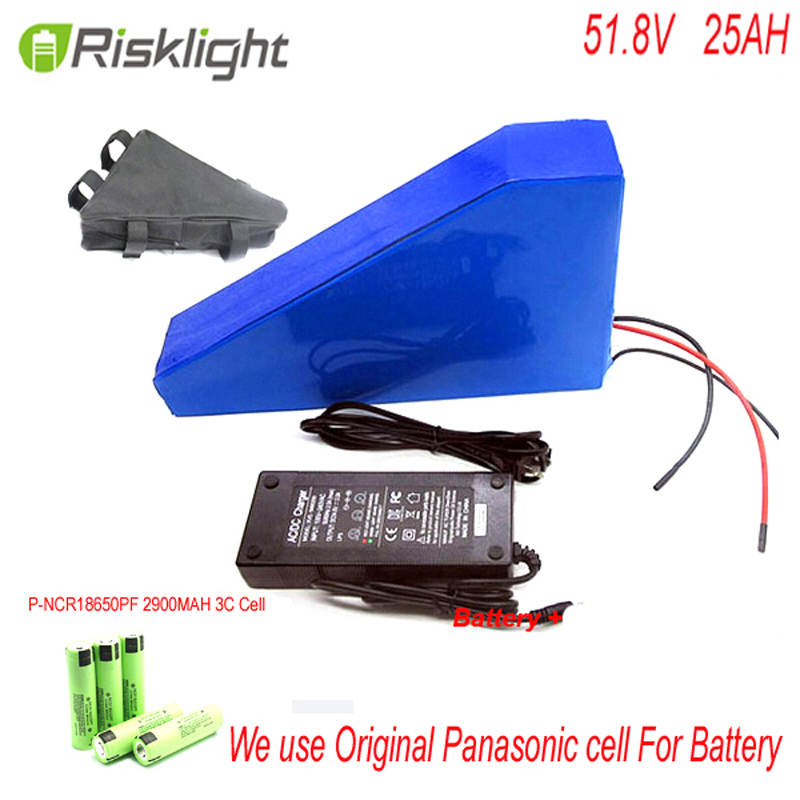 electric bike battery 51.8v 25ah lithium battery for electric bike with 52v 25ah Triangle bike battery pack For Panasonic Cell free customs taxes high quality skyy 48 volt li ion battery pack with charger and bms for 48v 15ah lithium battery pack