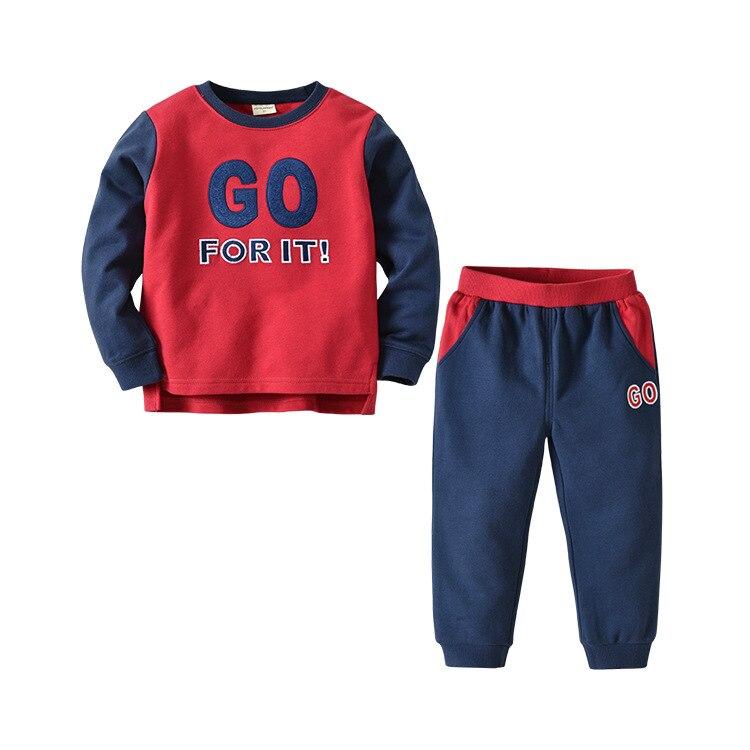 Boys Suit Crewneck Letter Childrens Wear Long Sleeve Two-Piece SetBoys Suit Crewneck Letter Childrens Wear Long Sleeve Two-Piece Set