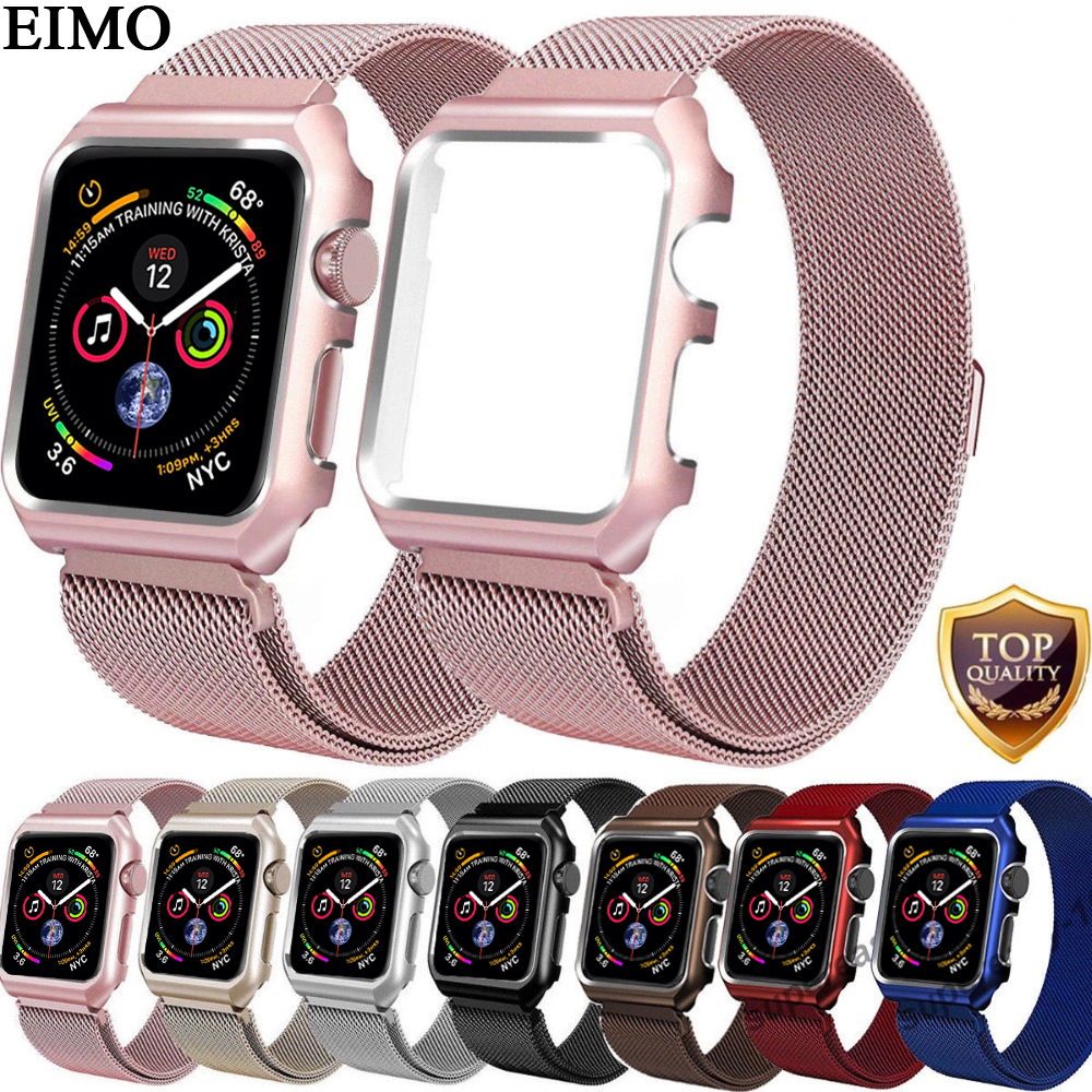 EIMO Milanese Loop Strap For Apple Watch 4 Case 44mm 40mm iwatch 4/3/2/1 42mm 38mm Stainless Steel Link Bracelet Wrist Watchband milanese loop watch strap men link bracelet stainless steel woven black for apple watchband 42mm 38mm iwatch free tools