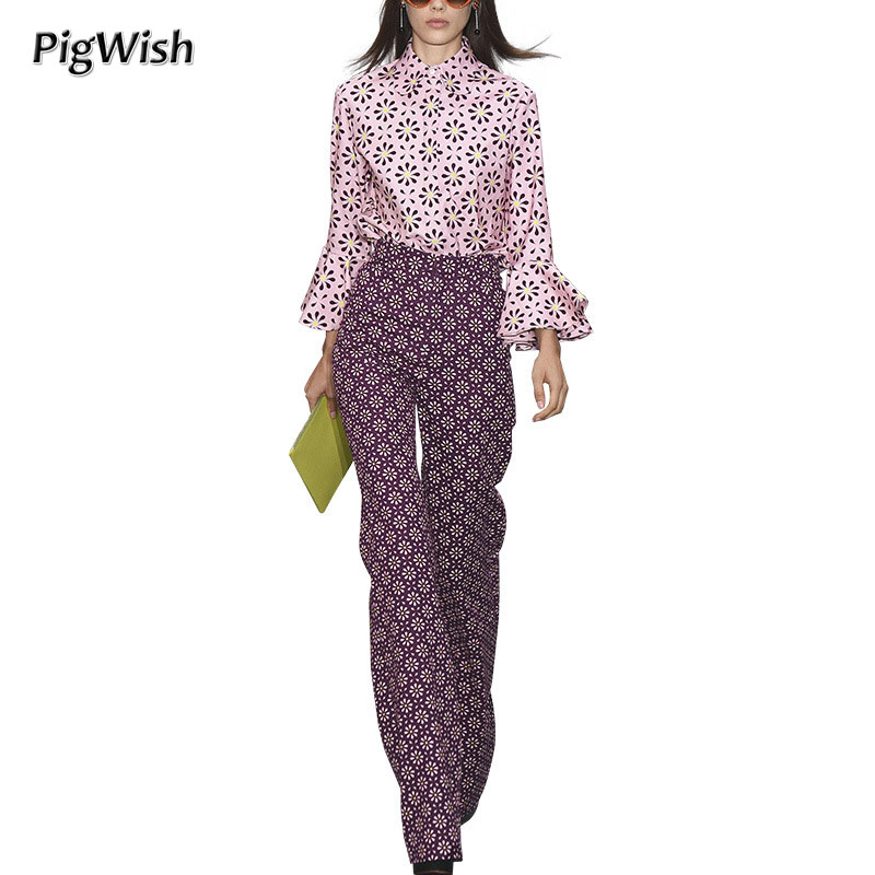PigWish 2018 Office Ladies Shirt Pink Floral Print Blouses Trousers Women 2 Piece Set Top And Wide Leg Pants High Quality floral print wide leg trousers