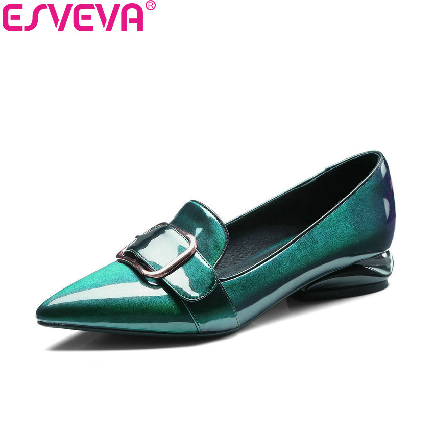 ESVEVA 2018 Women Pumps Western Style Pointed Toe Out Door Square High Heels Patent Leather PU Pumps Ladies Shoes Size 34-39 esveva 2018 pointed toe western style women pumps cow leather pu square high heels lace up out door ladies shoes size 34 43